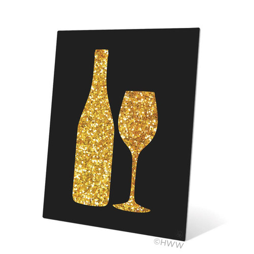 Click Wall Art Sparking Wine and Bottle Silhouette Graphic Art
