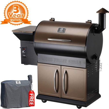 Z GRILLS Wood Pellet Grill & Smoker with Patio Cover, 7 in 1- Grill,700 Cooking Area, Roast, Sear, Bake,Smoke, Braise and BBQ with Electric Digital Controls for