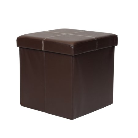 Otto & Ben 15 Inch Line Design Memory Foam Folding Storage Ottoman Bench with Faux Leather