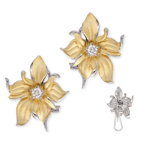 Rozzato Satin Gold Vermeil Silver Diamond Evening Flower Earrings