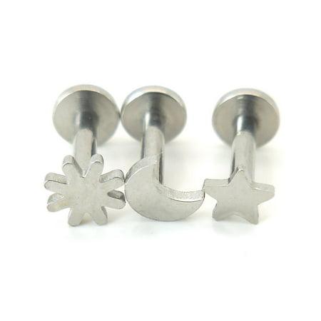 Triple Moon Earrings (16G Triple Helix Celestial Moon Star Sun 1/4