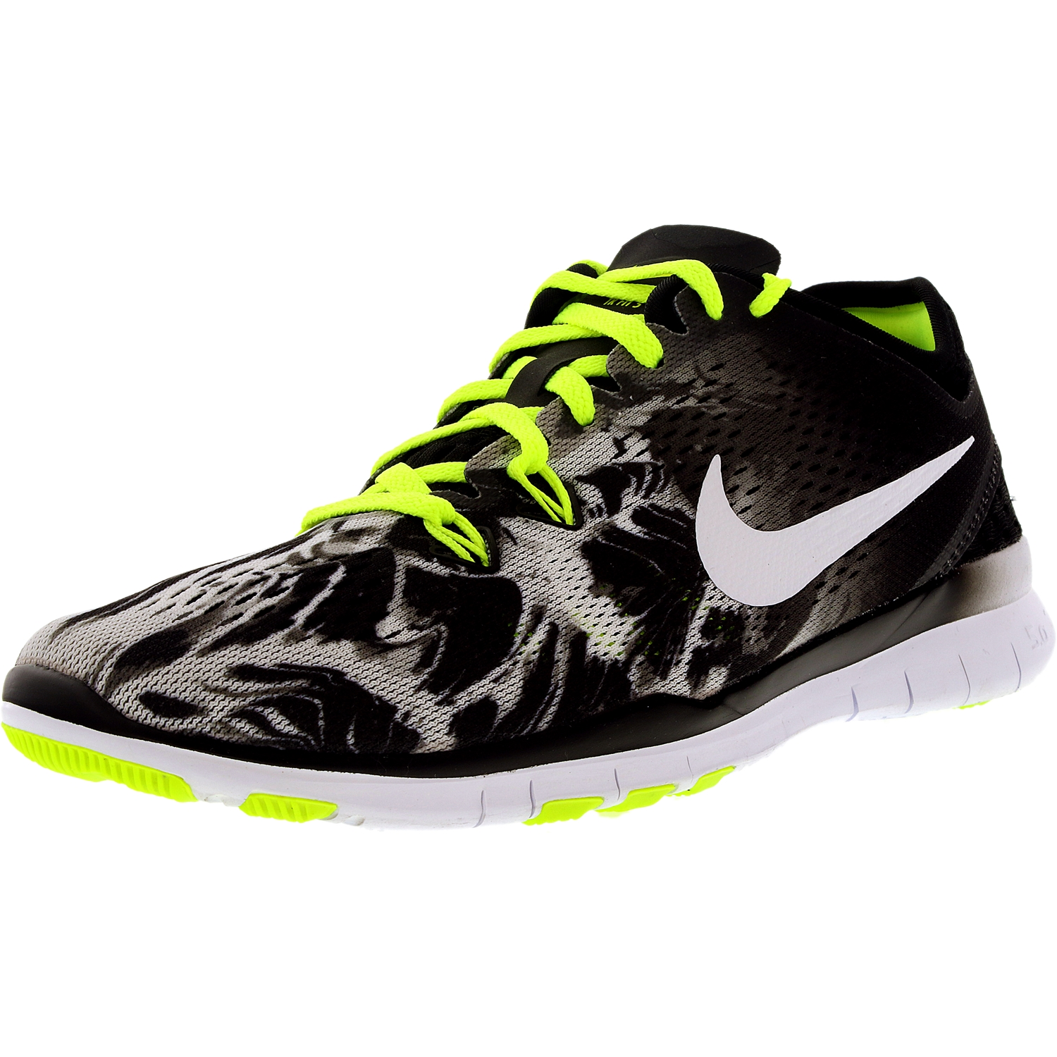 Nike Women's Free 5.0 Tr Fit 5 Prt Black/White/Volt Ankle...