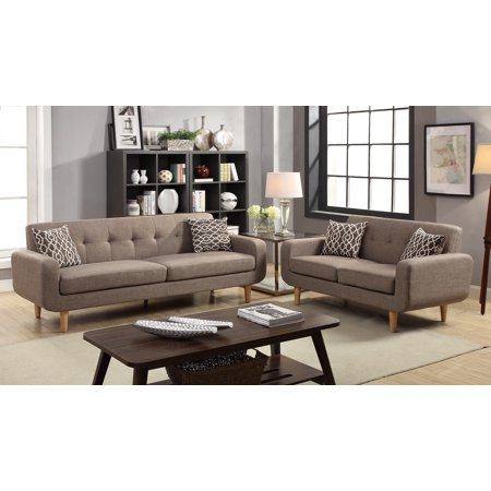 Amazing Modern Mocha Color Dorris Fabric Tufted Single Panel Seat Tufted Back Cushion 2Pc Sofa Set Sofa And Loveseat Living Room Gmtry Best Dining Table And Chair Ideas Images Gmtryco