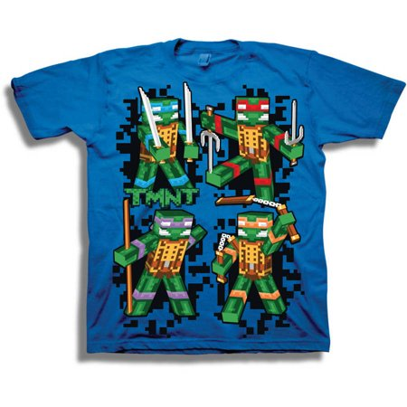 TMNT Retro 8-Bit 3D Group Shot Boys' Short Sleeve Graphic Tee T-Shirt - Boys Retro