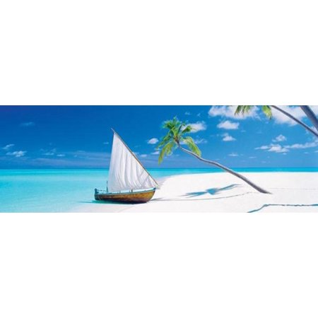 Paradise Found Maldives Island Tropical Beach Ocean Sailboat Poster   36X12