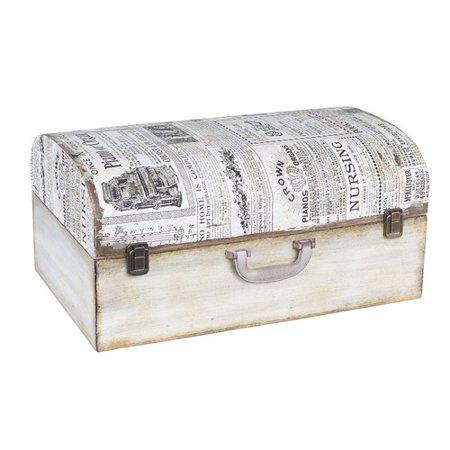 Household Essentials  Wood Small Vintage Newspaper Suitcase -