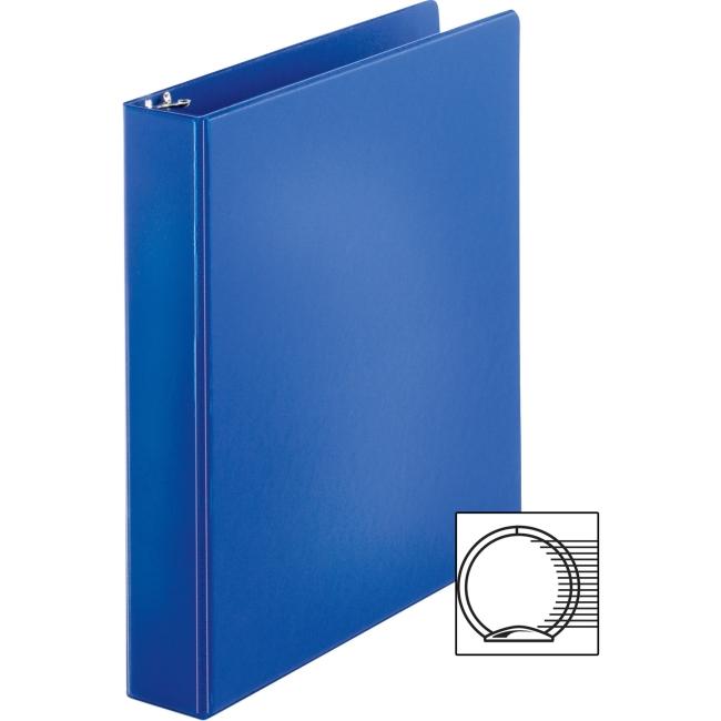 "Business Source Basic Round Ring Binders - 1 1/2"" Binder Capacity - Round Ring Fastener - Vinyl - Dark Blue - 1.02 lb - 1 Each"