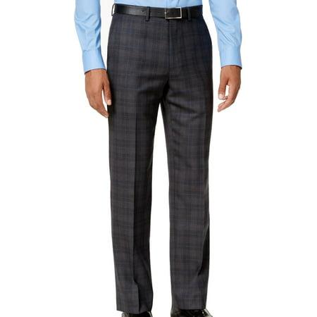Gray Men 32x32 Dress Plaid Modern Wool Stretch Pants $175 (Mens Comfort Stretch Wool Dress)