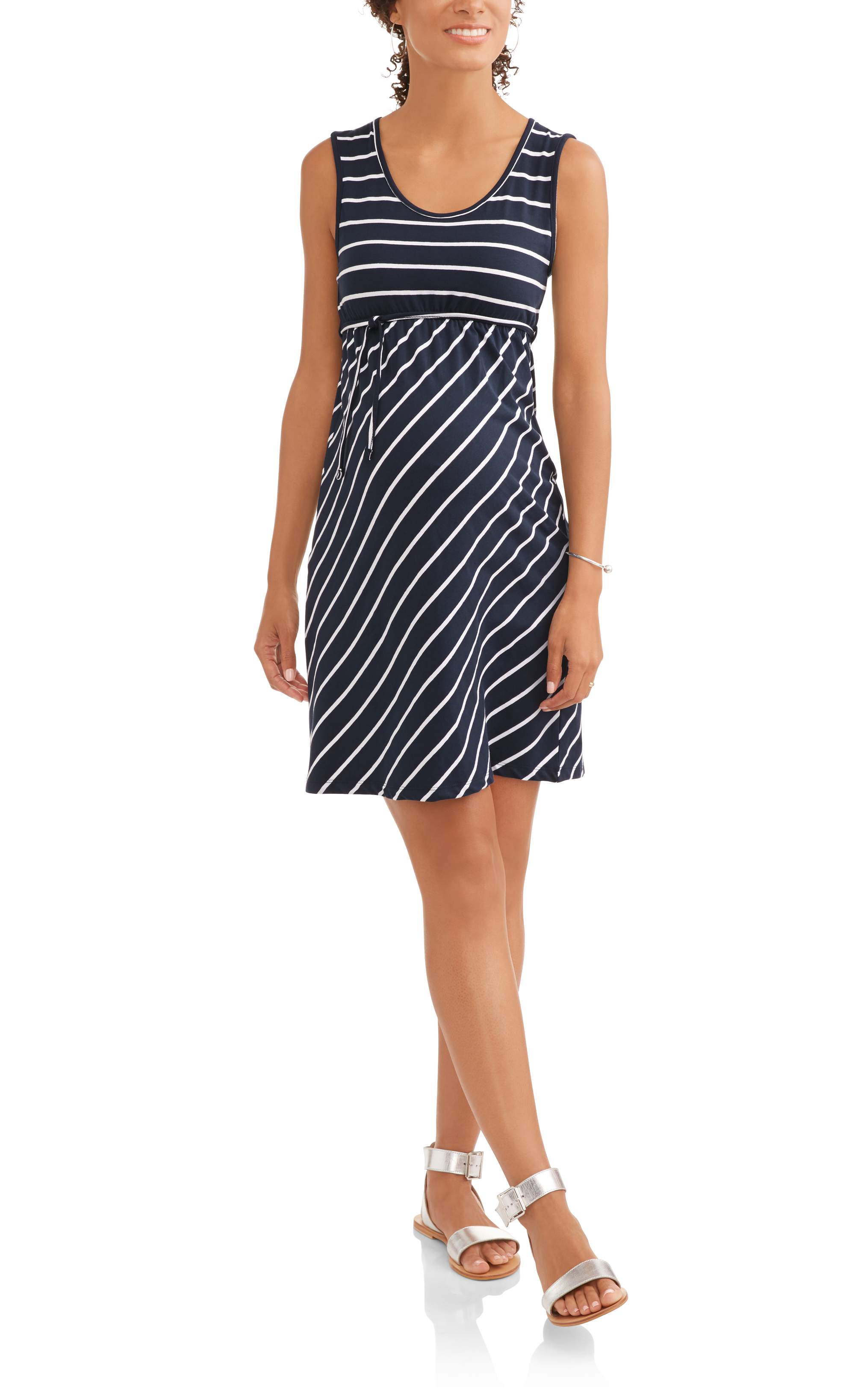 Maternity Sleeveless Stripe Dress with Front Tie-- Available In Plus Sizes by