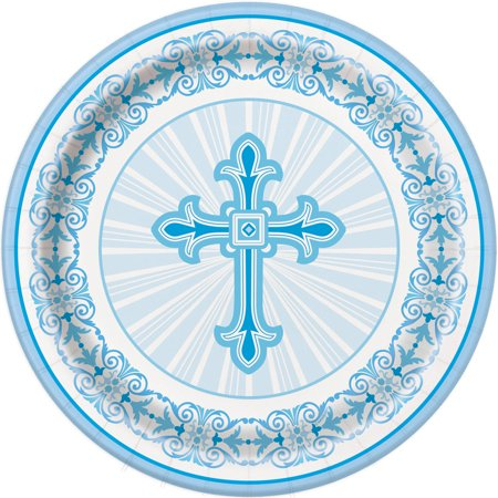 Radiant Cross Religious Party Plates, 9 in, Blue, - Blue Snowflake Plates