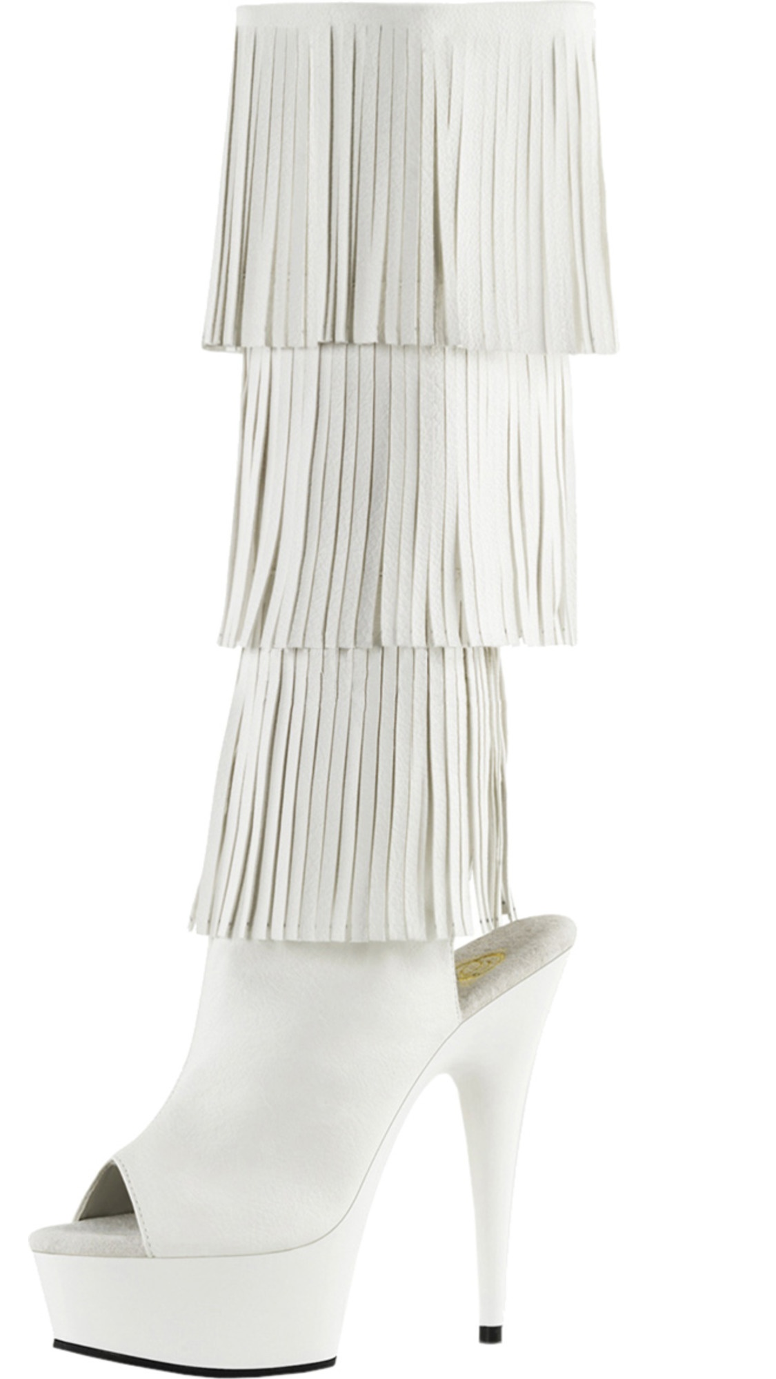 Womens White Knee High Boots Open Toe Shoes Fringe Boots Platforms 6 Inch Heels