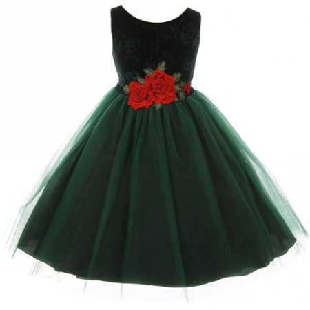 Little Girls Sleeveless Floral Velvet Rose Tulle Christmas Flower Girl Dress Green 2 - Green Velvet Baby Dress
