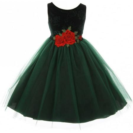 Little Girls Sleeveless Floral Velvet Rose Tulle Christmas Flower Girl Dress Green 2 - Velvet Dress Girl