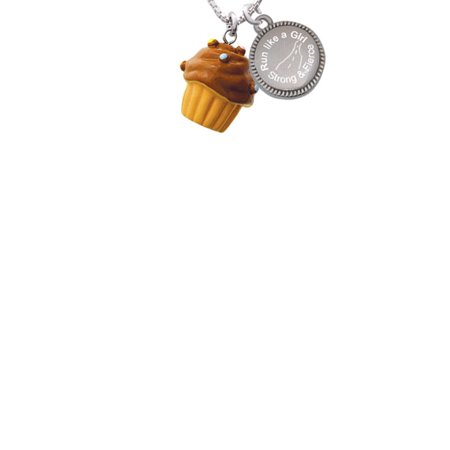 Resin Vanilla Cupcake with Chocolate Frosting Run Like a Girl - Strong and Fierce Engraved Necklace - Vanilla Girl