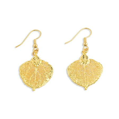 24k Gold Dipped Gold-tone Gift Boxed Shepherd hook Aspen Leaf Dangle (Aspen Earings)