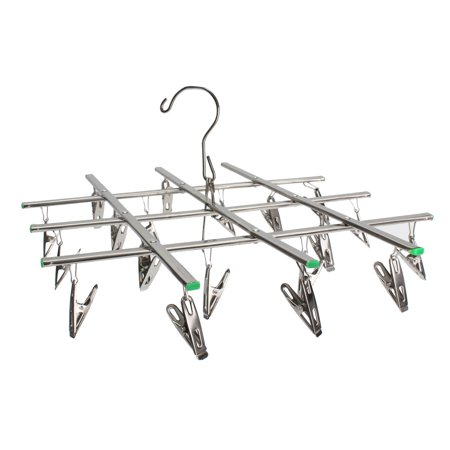 Hanging Drying Racks - 20 Pegs Laundry Clamp Swivel Hook Stainless Steel Socks Bra Drying Rack Hanging Clothes Hanger
