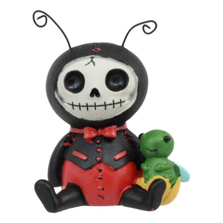 - Ebros Furry Bones Dots The Ladybug in Black Tuxedo with Red Polkadots Skeleton Monster Collectible Figurine 3