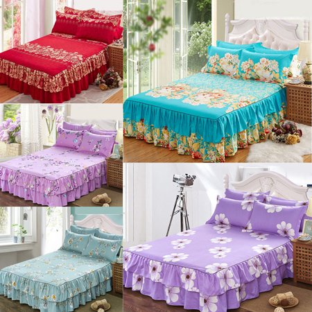 Home Flower Cotton Bedding Bed Skirt Pillowcase Dust Ruffle Bedspread Queen Size Sanding Bed Cover Bed Skirt Thick Bed Cover Single/Double bed skirt (Double Ruffle Bedskirt)
