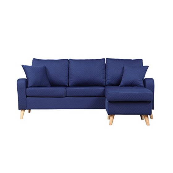 Mid Century Modern Linen Fabric Small Space Sectional Sofa ...