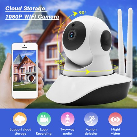 1080P Wireless Wifi Smart IP Camera Home Security Camera Baby Monitor Motion Detection IR Night Light Cloud Storage, Two-way Audio,White ()