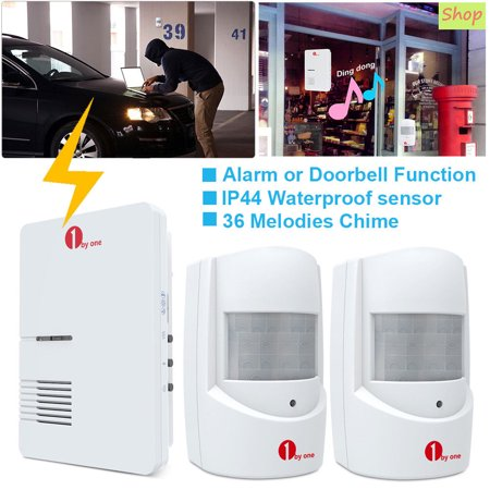 1byone Home Security Wireless Driveway Alarm System Patrol Infrared Alert System Kit Doorbell Function, 1 Plug-in Receiver and 2 PIR Motion Sensor Detector