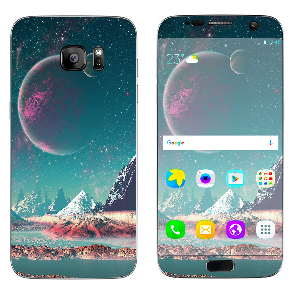 Skin Decal For Samsung Galaxy S7 Edge / Planets And Moons Mountains