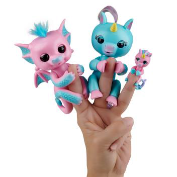 Fingerlings Dragon & Unicorn 2-Pack with Mini BFF Unicorn – Bubbles (Pink & Blue), Becca (Blue & Pink) and Bianca (Pink) - By WowWee
