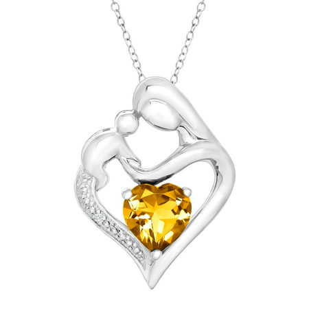 Natural Heart-Cut Citrine Mother & Child Heart Pendant Necklace with Diamond in Sterling Silver, 18