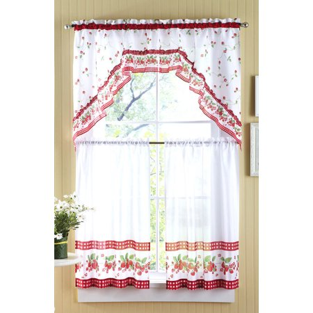 Strawberry Vine Kitchen Curtain Tier Swag Set 36 In Long