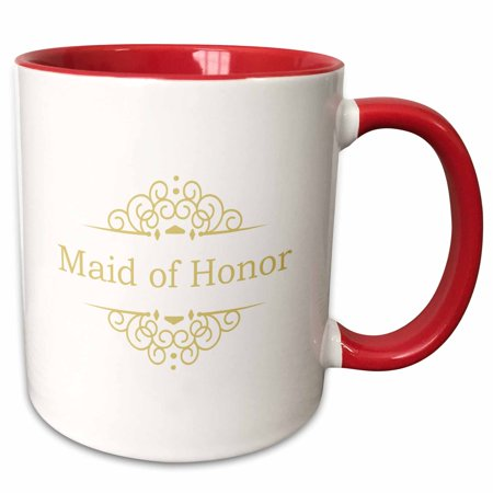 3dRose Maid of Honor of the Wedding in gold - part of matching marriage party ceremony set - classy swirls - Two Tone Red Mug,