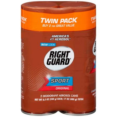 (4 count) Right Guard Sport Deodorant Aerosol Spray, Original, 8.5 Ounce, 2 twin