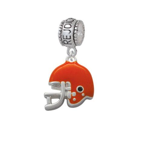Small Orange Football Helmet - Rejoice Charm Bead