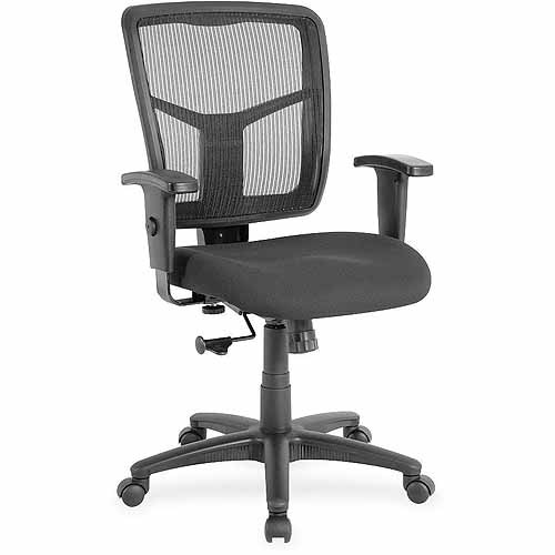 Lorell Managerial Mesh Mid-Back Chair, Black