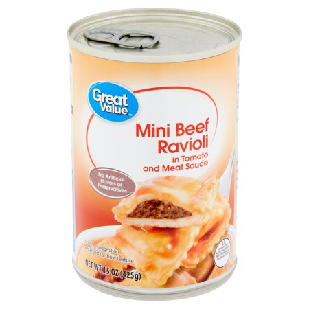 Great Value Mini Beef Ravioli in Tomato and Meat Sauce, 15 oz