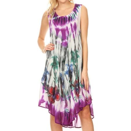 - Sakkas Jimena Women's Tie Dye Sleeveless Caftan Dress Sundress Flare Floral Print - Grey - One Size Regular