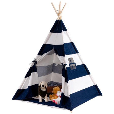 Teepee Tent (Ktaxon Teepee Tent for Kids, Canvas Childrens Play Tent for Indoor Decor with Carry Case , Blue & White Stripe )