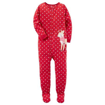 4eedcd19de36 Carter s - Carter s Baby Girls  1 Piece Reindeer Fleece Pajamas