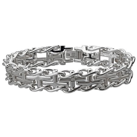 Stainless Steel Men's Cross Diamond Accent Railroad Bracelet Diamond Com Stainless Steel Bracelets