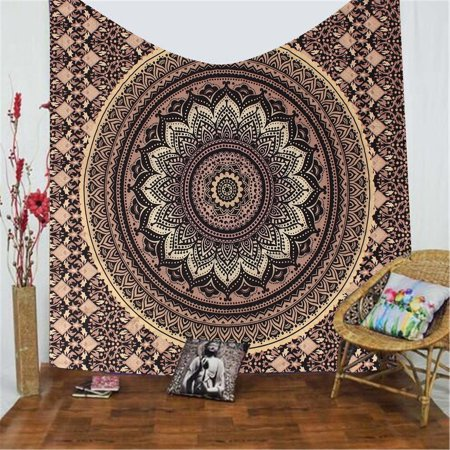 - Meigar Mandala Tapestry Wall Hanging Indian Gold Black Ombre Wall Tapestry Hippie Indian Throw Beach College Dorm Bohemian Boho Bedsheet
