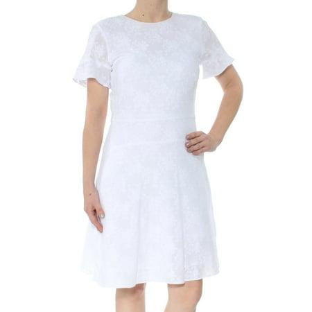 MICHAEL KORS Womens White Cotton A Line Short Sleeve Jewel Neck Knee Length Sheath Dress  Size: (Cotton Sheath)