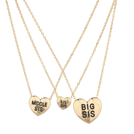 Lux Accessories Three Sisters Heart Charm Necklace Set ()