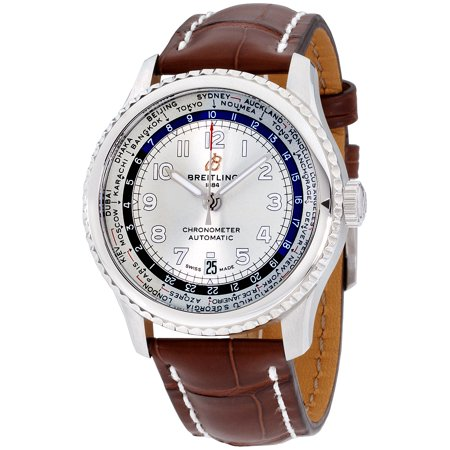 Breitling Navitimer 8 Silver Dial Leather Strap Men's Watch AB3521U01G1P1