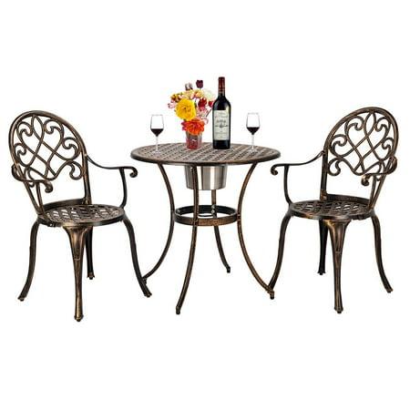 Bistro Design - Zimtown 3 Piece Patio Outdoor Patio Furniture Tulip Design Setting Cast Bistro Set