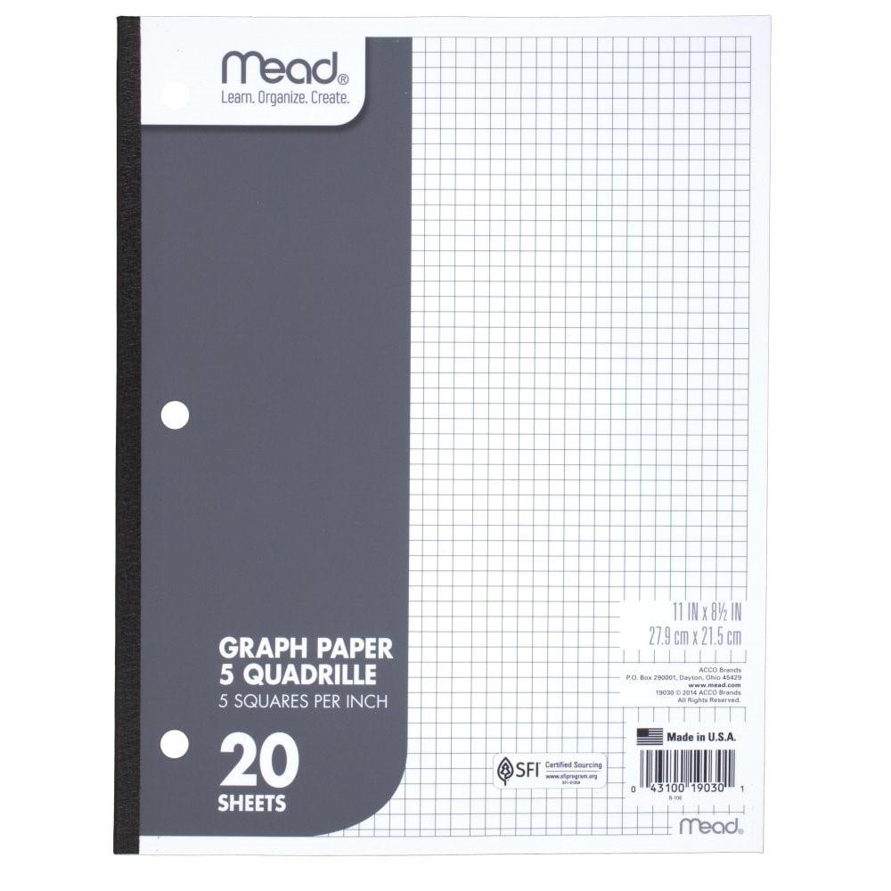 Mead Graph Paper, Quad Ruled, 20 Sheets - Walmart.com