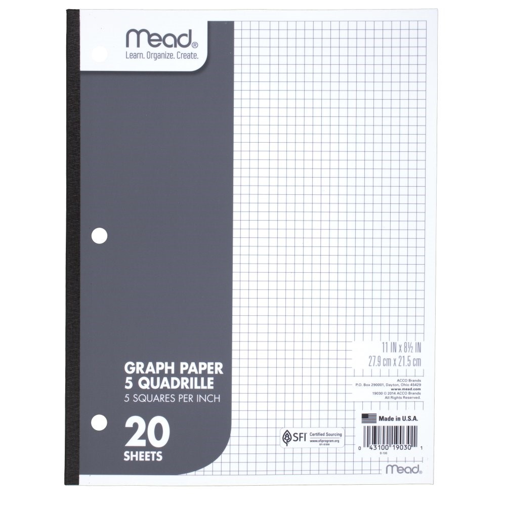 Mead Graph Paper Quad Ruled  Sheets  WalmartCom