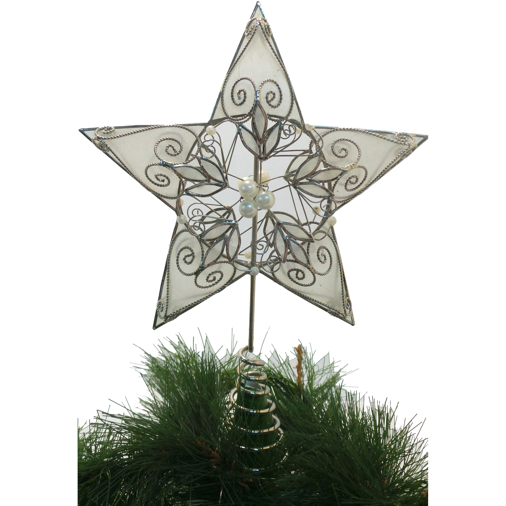 STEM EXPORTS PHILS., INC. Holiday Time Capiz Silver Pearl Leafy Tree Topper