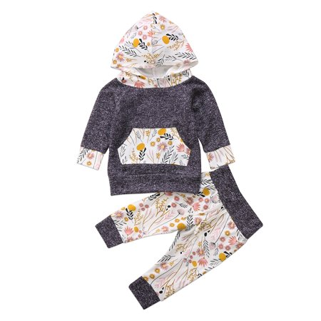 Newborn Baby Boys Girls Outfits Long Sleeve Hoodie Tops Floral Print Pants Clothes Set