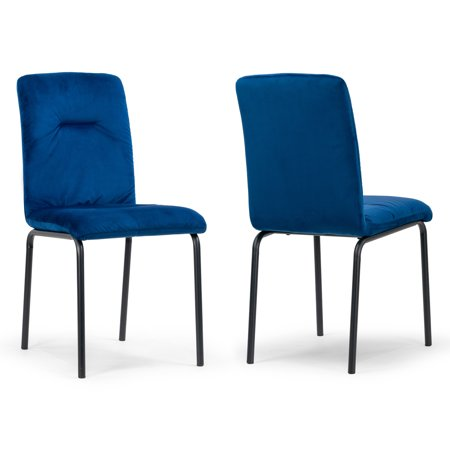 Set of 2 Aren Blue Velvet Side Chair with Black Metal Legs