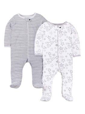 Little Star Organic Newborn Baby Boy or Girl, Gender Neutral Sleep 'N Play Footed Pajamas, 2-Pack