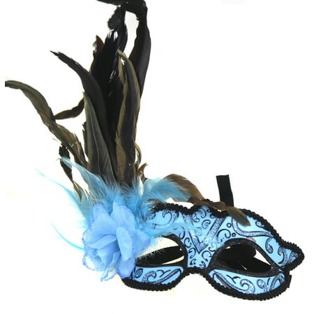ELEGANT MASQUERADE MASK - Feather Masks - FANCY COSTUME - Black And Red Masquerade Mask